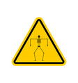 attention death skeleton caution yellow road sign vector image vector image