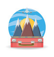 bag and airplane with snowy mountains vector image vector image
