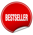 bestseller round red sticker isolated on white vector image vector image