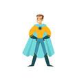 boy superhero in classic comics costume standing vector image vector image