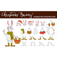 bunny christmas character isolated body parts vector image vector image
