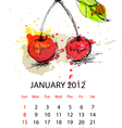 calendar for 2012 with fruit january vector image vector image