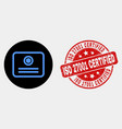 certificate icon and scratched iso 27001 vector image vector image