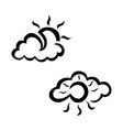 cloudy and sunny weather sketch icon set vector image