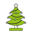 color silhouette image of decorated christmas tree vector image vector image