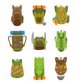 colorful camping backpack set in flat design vector image