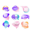 colorful transparent speech bubbles with short vector image vector image