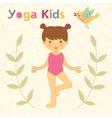 Cute yoga kids card with little girl doing yoga vector image vector image