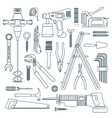 dark outline various house remodel instruments set vector image vector image