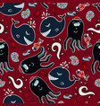 dark seamless pattern with an octopus and fishes vector image