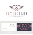 Dating club logo and business card template vector image vector image