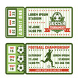design template tickets for football match vector image vector image