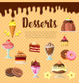 desserts and cakes on chocolate waffle vector image vector image