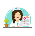 doctor showing bad diagnosis results vector image vector image