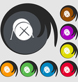 Drum icon Symbols on eight colored buttons vector image