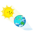 earth day happy sun heats earth with its yellow vector image vector image