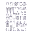 Female and male casual clothes garment outline vector image vector image