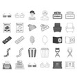 films and cinema monochromeoutline icons in set vector image vector image