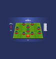 football soccer match lineups infographic vector image
