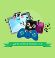 funny computer gadgets banner in cartoon style vector image vector image