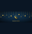 golden crescent and stars hanging on dark vector image vector image