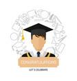graduation logo template design elements flat vector image