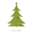 green bows Christmas tree silhouette pattern frame vector image vector image