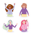 group young woman characters with devices vector image