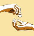 Hands Giving Receiving Coin of Money colored vector image