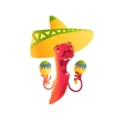 Happy chili pepper character in sombrero playing vector image vector image