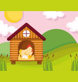 hen chicken and eggs in wooden house farm animal vector image vector image