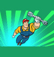 male repairman with a wrench flying superhero vector image vector image