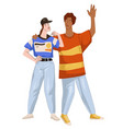 man and woman wearing clothes 1980 retro style vector image vector image