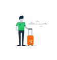Man with baggage at the airport waiting flight vector image vector image