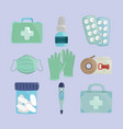 medical objects set vector image vector image