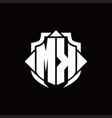 mk logo monogram with shield line and 3 arrows vector image vector image