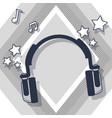 music headphones cartoon vector image vector image