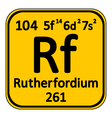 Periodic table element rutherfordium icon vector image vector image