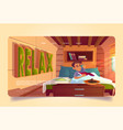 relax banner with man wake up in bed in camper vector image