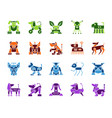 robot dog simple color flat icons set vector image