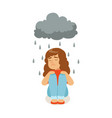 sad girl character sitting under stormy rainy vector image vector image