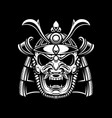 samurai helmet in tattoo style isolated on dark vector image vector image