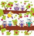 seamless pattern bright colorful owls on the vector image vector image
