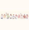 set multiethnic people volunteers concept vector image