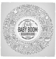 Set of Baby cartoon doodle objects round frame vector image vector image