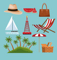 set of beach elements vector image