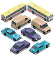 set of isometric urban transportation cars vector image vector image