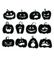 set of pumpkins collection of pumpkin faces for vector image