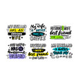 set typography for husband and wife lettering vector image