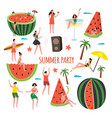 summer party with watermelon slices and people vector image vector image